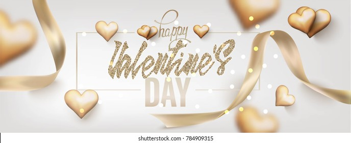 Valentine's Day  greeting card with gold hearts and ribbons. Vector illustration