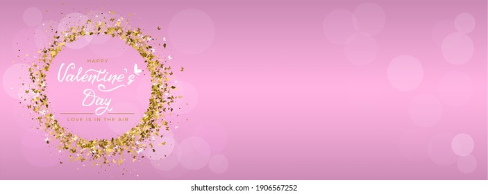 Valentine's day greeting card with hand drawn lettering, butterfly icon and round frame of gold glitter butterflies. For holiday invitations, banner, cover social network. Vector illustration - Shutterstock ID 1906567252