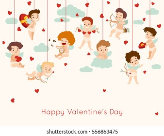 Valentines Day greeting card with hanging cupid. Vector illustration.