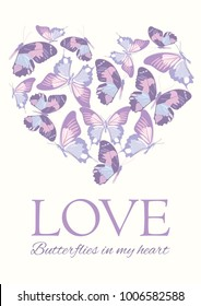 Valentines day greeting card. Heart shape filled with butterflies. Whis text on white background. Vector illustration