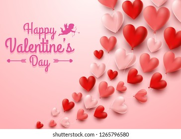 Valentines day greeting card with hearts balloon background