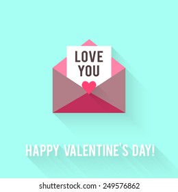 Valentines Day greeting card. Love concept in flat style. Vector illustration EPS10.