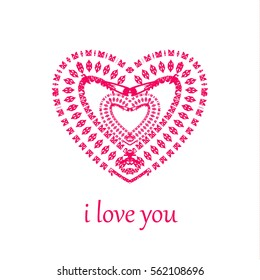 Valentine`s day greeting card. Pink heart isolated on white background.