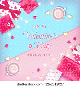 Valentine's Day Greeting Card with realistic gifts, cups of coffee, cookies, garlands, heart-shaped candies. On abstract pink and blue background. Vector illustration. Top view.