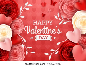 Valentines day greeting card with rose flower and hearts background
