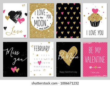 Valentine's day greeting card set with hearts. Gold, black, pink, white colors. Gift tags with gold glitter texture. Hand drawn hearts. Design for valentine and wedding. Miss you. Be mine. Cupcake.