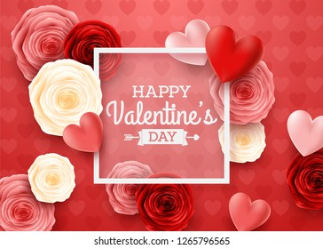 Valentines day greeting card with square frame and hearts background