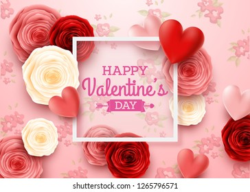 Valentines day greeting card with square frame and flowers background