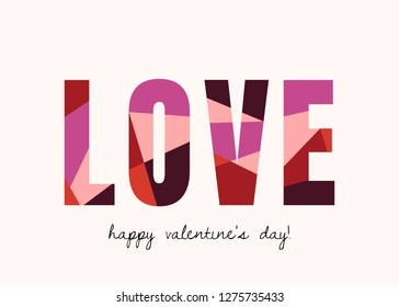 Valentine's Day greeting card template with colorful typographic design on white background. Cute and playful vector romantic card, wedding initation, wall art design.