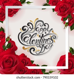 Valentine's day greeting card templates with realistic of beautiful red rose on background color. Vector Eps.10