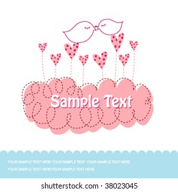 valentine's day greeting card with two sweet love birds