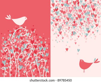 Valentine's day greeting card with two pretty love birds. Vector illustration.