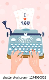 "Valentine's day greeting card. Typewriter with sheet of paper and inscription ""I love You"". 