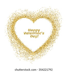 Valentines day greeting card. Vector gold sparkles heart on white background. Abstract luxury glow golden background. Design for holiday gift card, banner, flyer.