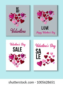 Valentines Day Greeting Cards Celebration Sale Banner Ads Vector