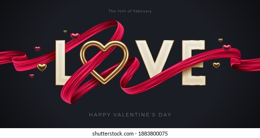 Valentines day greeting illustration. Word Love with  realistic golden heart and red paint brush stroke ribbon. Vector illustration.