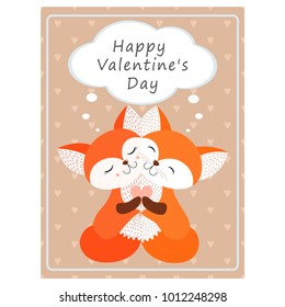 Valentine's day greeting vintage card. Hugging Fox Vector illustration