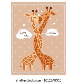 Valentine's day greeting vintage card. Hugging Giraffe Vector illustration