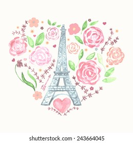 Фотообои Valentines day greeting watercolor card