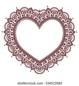 Valentine's Day grettings card with heart Mehndi, Indian henna tattoo pattern