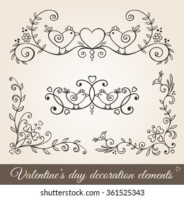 Valentine's day hand drawn decoration set in vintage style.Borders,corners,page dividers,ornaments for greeting cards,stationary,gift tags,scrap-booking,wedding,invitations.Floral design with birds.