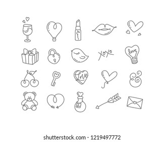 Valentines day hand drawn flat icons drawing on white background.