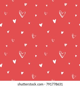 Valentine's day hand drawn monochrome vector seamless pattern. Red and white sketch hearts lovely background. Sweet love texture for postcards, banners, posters, websites and decorative prints