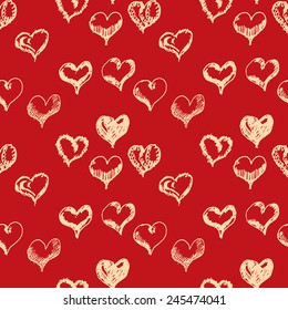 Valentines day hand drown hearts seamless pattern.