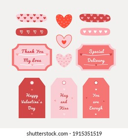 Valentine's day hand-drawn illustration for stickers, greeting cards, or social media.