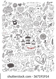 Valentine's Day handsketched doodle set - freehand vector illustration. Traditional romantic symbols: heart shapes, desserts, doves, swans, champagne, love letters, roses, florals and flourishes.