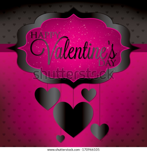 Valentine's Day hanging heart card in vector format.