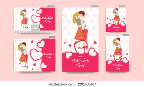 Valentine's Day header and banner set with illustration of cute couple in romantic pose.