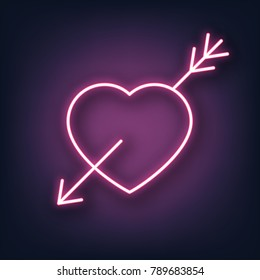 Valentines Day. Heart and arrow neon sign. Valentine's Day neon sign.