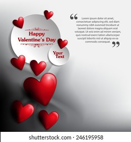 Valentine's day heart Background with Text. Vector Illustration
