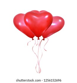 Valentine's Day heart balloons. Set of realistic helium balloons of heart shape and ribbons. Wedding and Valentine's balloons.