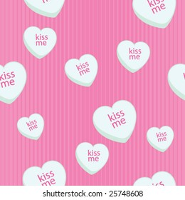 Valentines Day Heart Candy Seamless Background - vector illustration