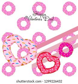 Valentine's Day heart donut greeting card vector background.