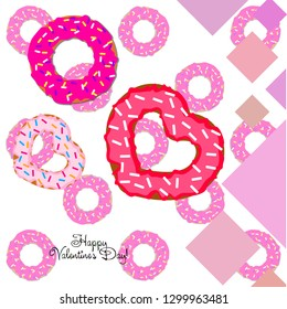 Valentine's Day, heart donut, greeting card, vector background