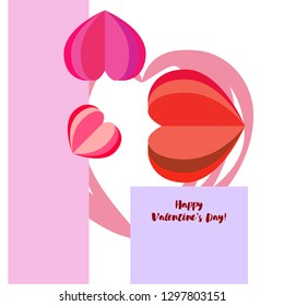 Valentine's Day heart greeting card, vector background