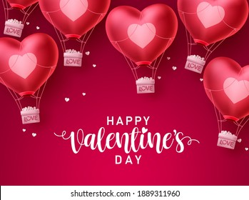 Valentines day heart love balloons vector design. Happy valentines day greeting text with flying heart air balloon elements in red background. Vector Illustration.
