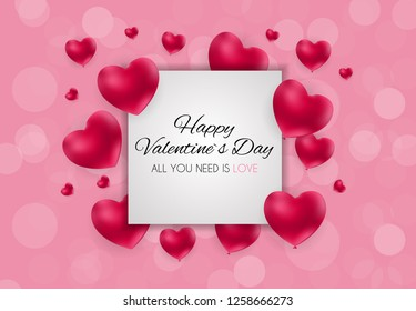 Valentine's Day Heart  Love and Feelings Background Design. Vector illustration EPS10