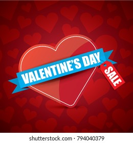 Valentines day heart shape sale label or sticker on abstract red background with hearts. Vector sales poster or banner design template