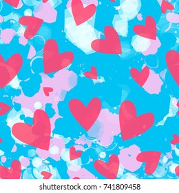 Valentines day hearts. Blue, pink, white backdrop, as stylized clouds on sky Seamless texture Abstract vector background for fabric, home decor, wrapping, valentines day or girls design, greeting card
