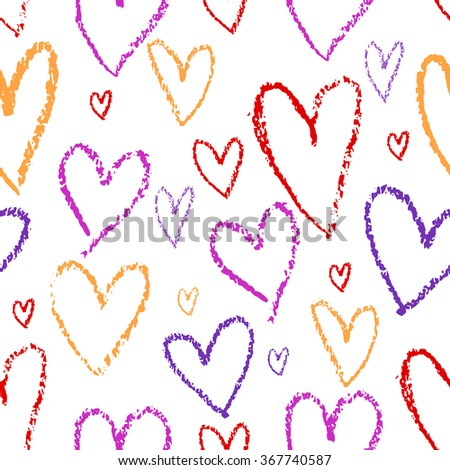 Valentines Day Hearts Drawn By Pencil Stock Vector Royalty Free