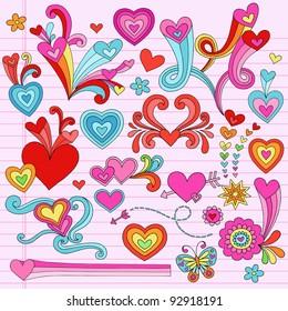 Valentine's Day Hearts and Love Psychedelic Groovy Notebook Doodle Design Elements Set on Pink Lined Sketchbook Paper Background- Vector Illustration