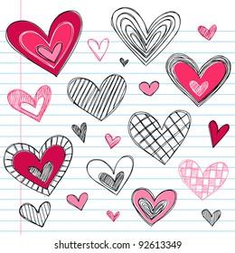Valentine's Day Hearts / Love Sketchy Notebook Doodles Design Elements on Lined Sketchbook Paper Background- Vector Illustration