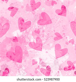 Valentines day hearts. Pink vector design. Marble texture background texture