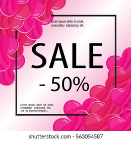 Valentines day hearts sale poster. Black romantic background. Shop discount banner. Love theme vector illustration for web design or printed products.