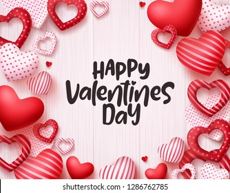 Valentines day hearts vector background. Happy valentines day greeting card banner design with text in empty white space and red hearts shape elements. Vector illustration.