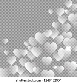 Valentine's day hearts vector isolated on dark background. Hearts transparent decoration effect. Love pattern. Magic white romantic texture. Wedding invitation card backdrop vector illustration